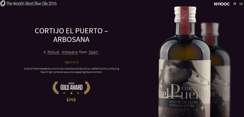 """«Arbosana» y """"Hojiblanca"""" de Cortijo el Puerto, dos Medallas de Oro en los Premios Internacionales de Aceite de Oliva de Nueva York 2016"""