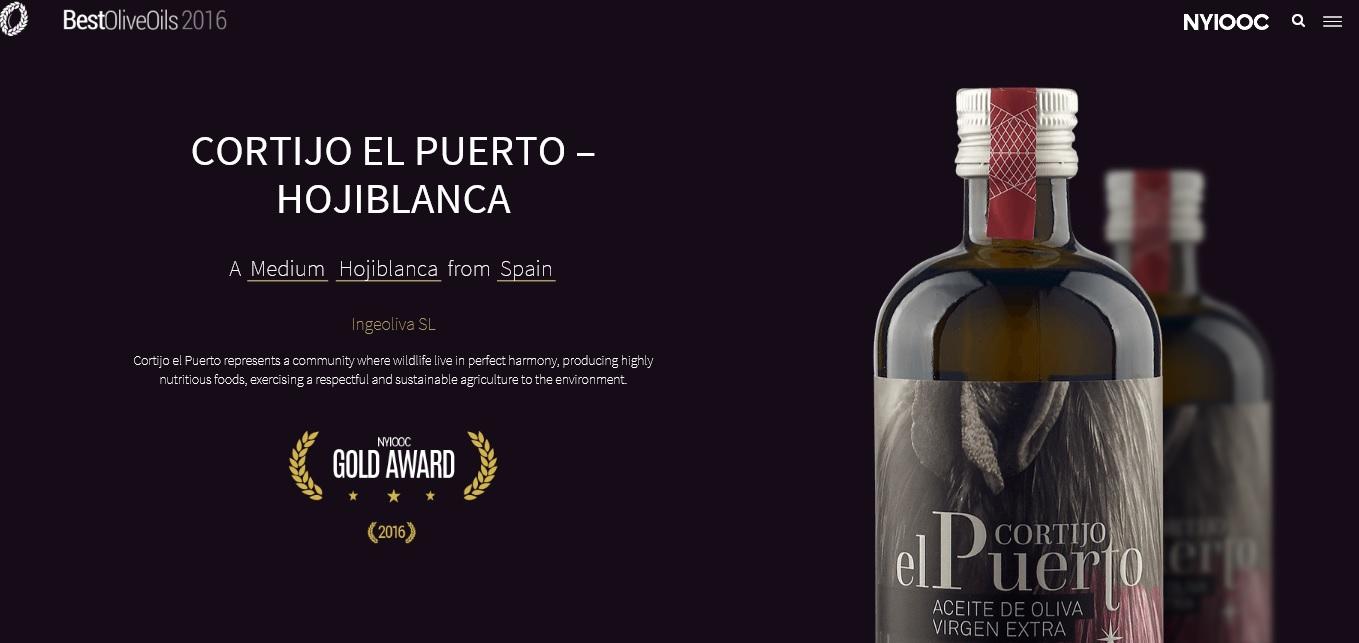 Cortijo el Puerto Hojiblanca Gold Award NYIOOC