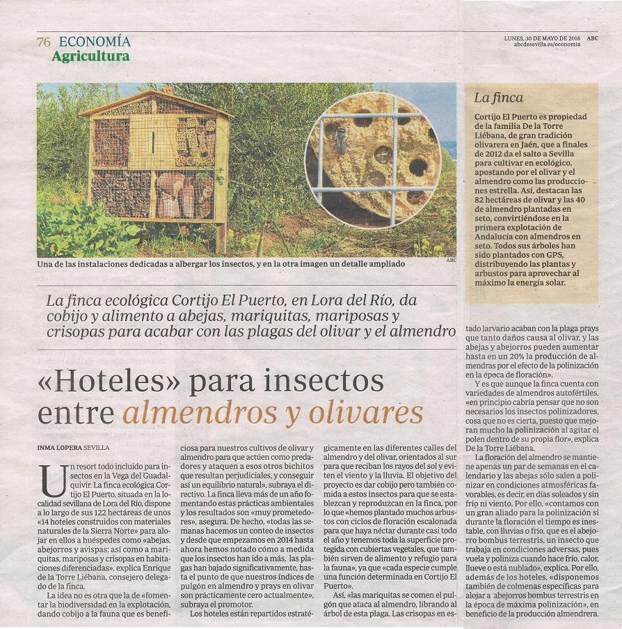 ABC: En Sevilla crían insectos en «hoteles» para controlar las plagas [Cortijo el Puerto lucha biológica]