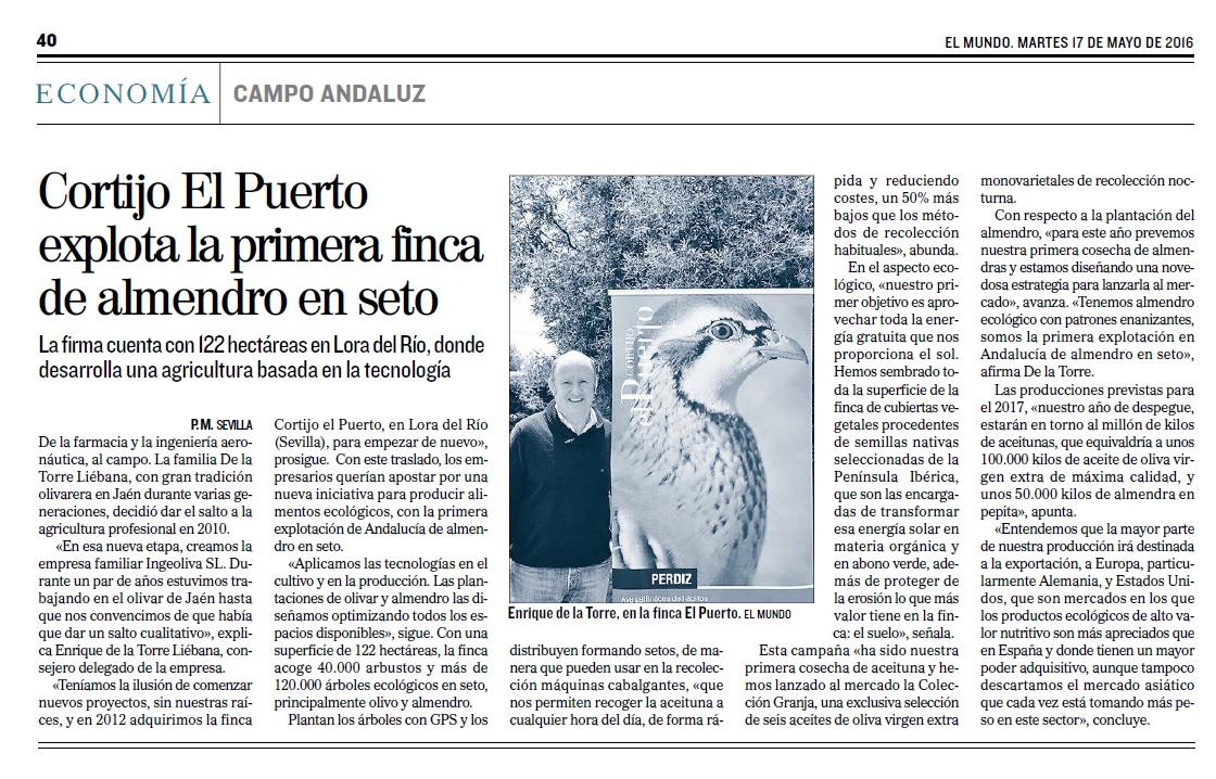 El Mundo: Cortijo El Puerto explota la primera finca de almendro en seto