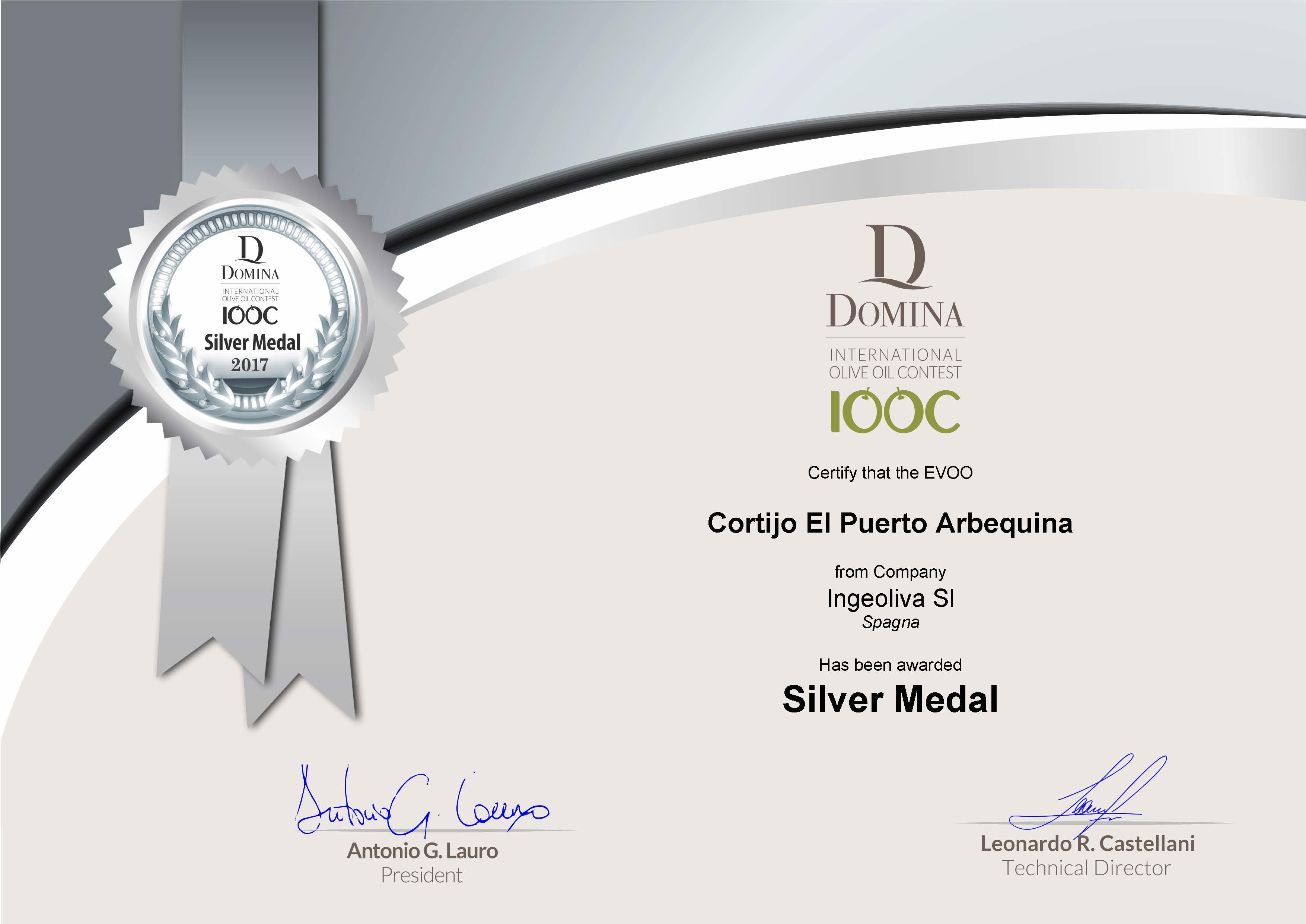 Cortijo el Puerto Arbequina Domina DIOOC Silver Medal