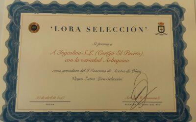"""Premio """"Lora Selección 2017"""" para nuestra variedad Arbequina"""