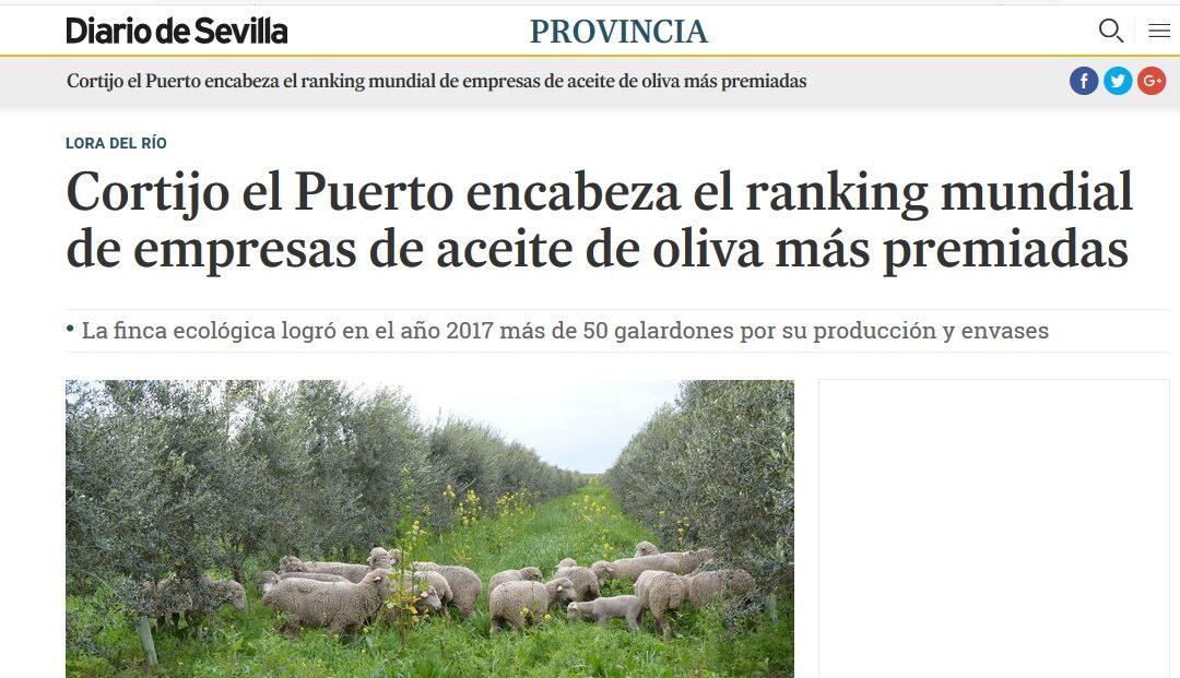 Cortijo el Puerto destacado en prensa por su posicionamiento como sociedad más premiada en el EVOO World Ranking