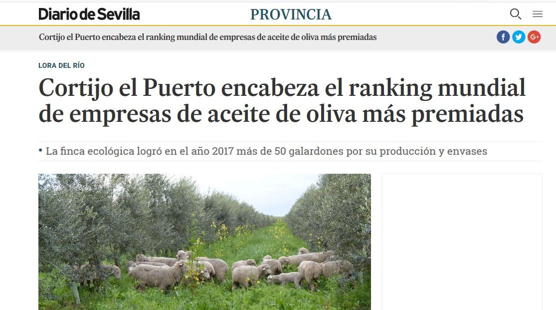 Diario de Sevilla: Cortijo el Puerto encabeza el ranking mundial de empresas de aceite de oliva más premiadas