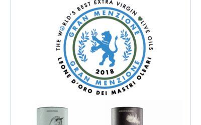 Picudo y Hojiblanca AOVE Ecológico premiadas con dos Gran Menzione en los Leone D´Oro de Italia