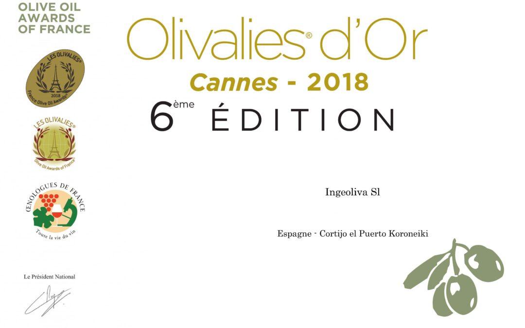 Oro y Plata para Cortijo el Puerto AOVE Ecológico en «Les Olivalies» de Francia