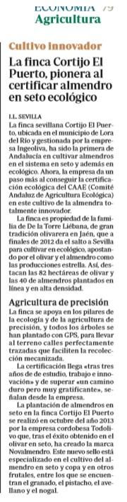 ABC finca Cortijo el Puerto pionera almendro ecológico