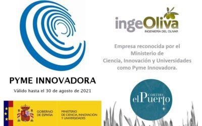 IngeOliva SL (Cortijo el Puerto): Empresa reconocida por el Ministerio de Ciencia, Innovación y Universidades como PYME Innovadora