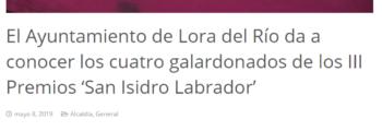 loradelrio.es: El Ayuntamiento de Lora del Río da a conocer los cuatro galardonados de los III Premios 'San Isidro Labrador'