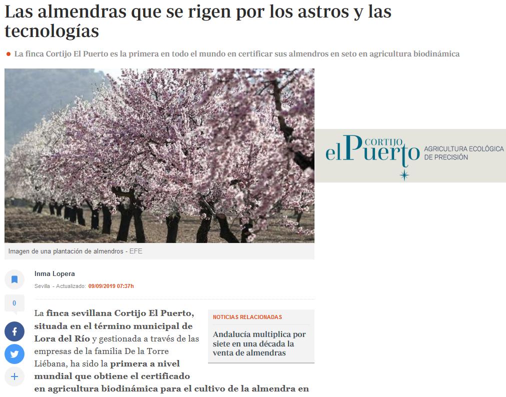 ABC Cortijo el Puerto Almendro biodinámica Astros y tecnologías