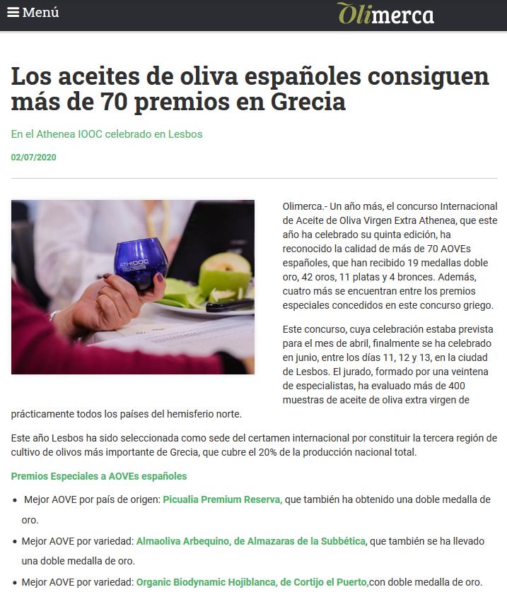 Olimerca _02_julio_2020_los aceites de oliva españoles consiguen más de 70 premios en Grecia_cortijo el puerto ecologico _biodinamico