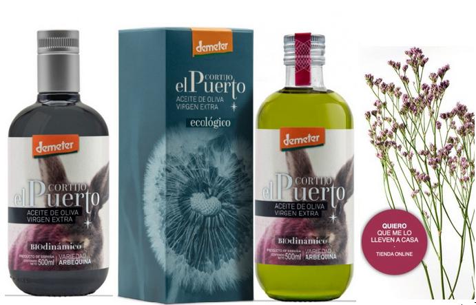 Arbequina AOVE ecológico biodinámico Cortijo el Puerto tienda on line comprar