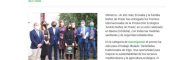 Olimerca:  Entregados los Premios Andrés Núñez de Prado A la investigación de la producción ecológica