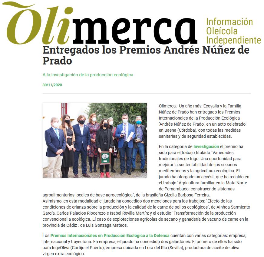 Olimerca Entregados los Premios Andrés Núñez de Prado Producción ecologica Ingeoliva Cortijo el Puerto_30_11_2020